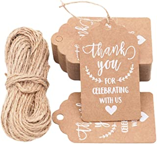KESTAR 100pcs Kraft Paper Thank You for Celebrating with Us Tags Tags with 20 Meters Jute Twine for Wedding Thanksgaving Christmas Party Arts and Crafts DIY Favor