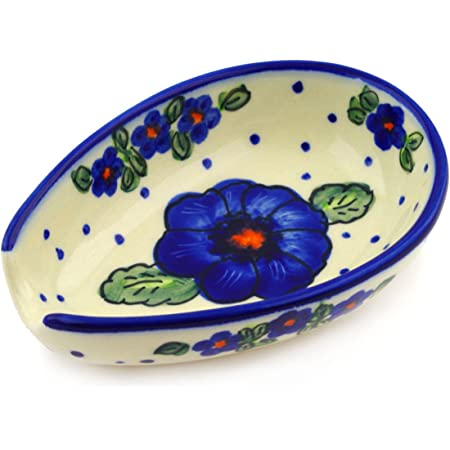 Polish Pottery 5 Inch Spoon Rest Bold Blue Pansy Theme Signature Unikat Certificate Of Authenticity Kitchen Dining