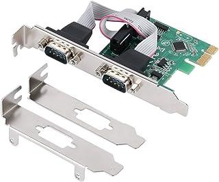 QNINE PCIe Tarjeta de expansión en Serie de 2 Puertos, PCI Express 1.0 x 1 a Controlador DB9 COM RS232 Industrial convertidor para PC con Soporte bajo