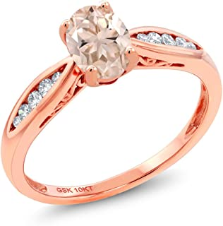 10K Rose Gold Peach Morganite and Diamond Engagement Ring 0.72 Ctw Oval (Available 5,6,7,8,9)