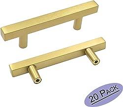 goldenwarm Brushed Brass Pulls Gold Kitchen Hardware LS1212GD76 Bathroom Cupboard Door Pull Handles 3 inch Drawer Pulls Gold Drawer Door Handles, T Square Bar Handle 5