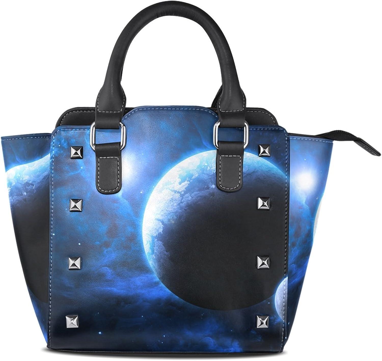 My Little Nest Women's Top Handle Satchel Handbag Planet and Moon Ladies PU Leather Shoulder Bag Crossbody Bag