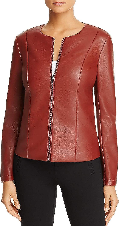 Bagatelle Women's FauxLeather Scuba Jacket, Paprika orange (Large)