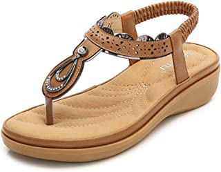 Wollanlily Women Summer Beach Flat Sandals Bohemia Flip-Flop Ankle Strap Thong Shoes Apricot-01 US 5.5