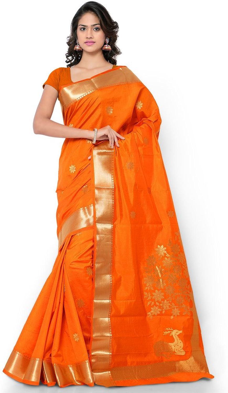 Varkala Silk Sarees with Blouse Piece (NYJB5002OR_orange_Free Size)