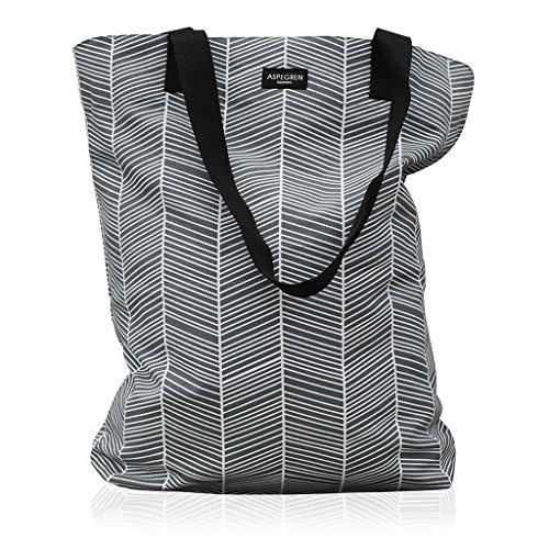 Aspegren Einkaufstasche Herringbone in grau-weißem Fischgrätmuster