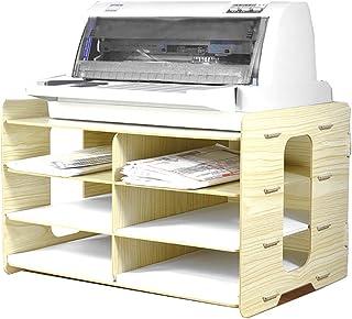 DHGN 卓上収納 ブックエンド ブックスタンド プリンタラック 横型 書類 ボックス 雑誌 新聞 書類 A4ファイル入れ本棚 本立て ファイルボックス 整理整頓 マガジンラック 文房具 オフィス 事務用品 多機能 多用途 ファイルボックス 組み立て 丈夫 木目 天然素材