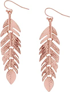 Humble Chic Floating Feathers Dangle Earrings - Long Hanging Metal Link Leaf Drops for Women