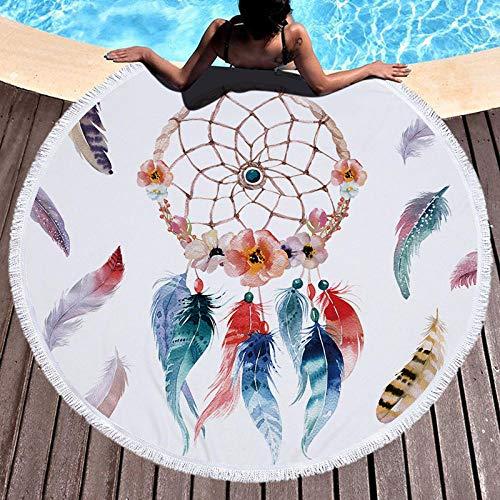 BCDJYFL 3D Rechteckiges Strandtuch Feather Dream Catcher Tragbar Rechteckig Schnelltrocknend Strandtuch Schwimmen Sport Reisen Yoga Gym Handtuch Badetuch.-Durchmesser: 150Cm