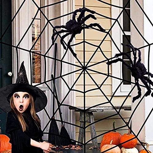 Halloween-Dekorationen, riesige große Spinne 75CM / 30 Zoll + schwarze Spinnennetz zweiteilige Spinnendekorationen, geeignet für Halloween-Dekoration im Innenhof Spukhaus-Partydekoration im Freien