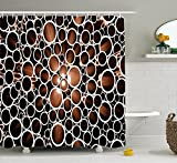Industrial Shower Curtain , Round Pipes in 3D Style Construction Theme Modern Circles