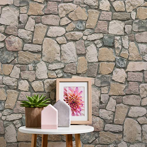 Papel pintado efecto piedra 3D beige marrón moderno aspecto de pared de piedra, incluye pegamento maestro papel pintado piedra piedra natural ideas para salón, dormitorio cocina 692412