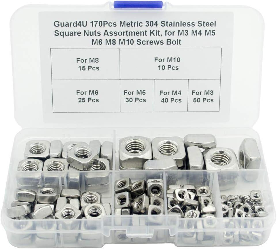 Guard4U 170Pcs Metric San Jose Mall 304 Stainless Max 66% OFF Assortment Steel Nuts Square