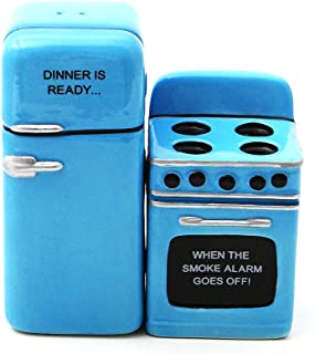 Retro Fridge and Stove Dinner is Ready Magnetic Ceramic Salt and Pepper Shakers