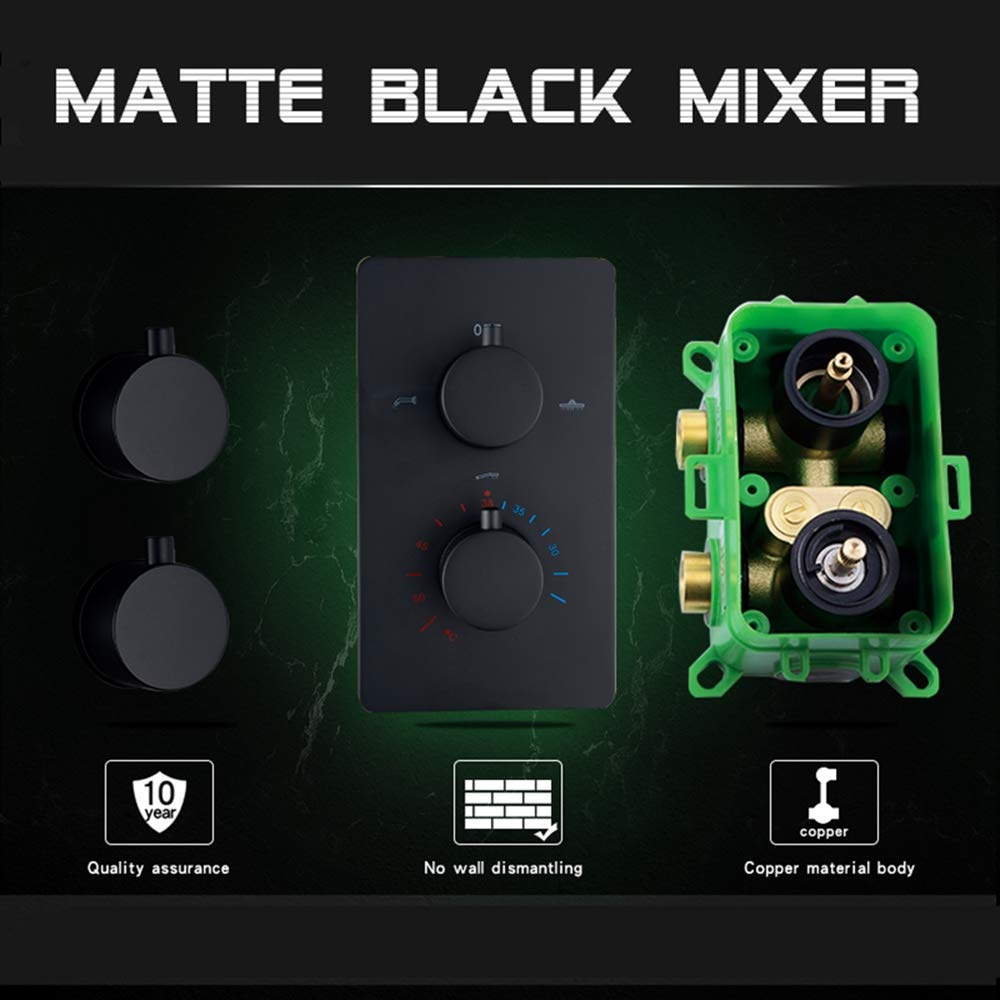 NMDD Set de Ducha Grifo de Ducha termostático de baño Negro Mate ...
