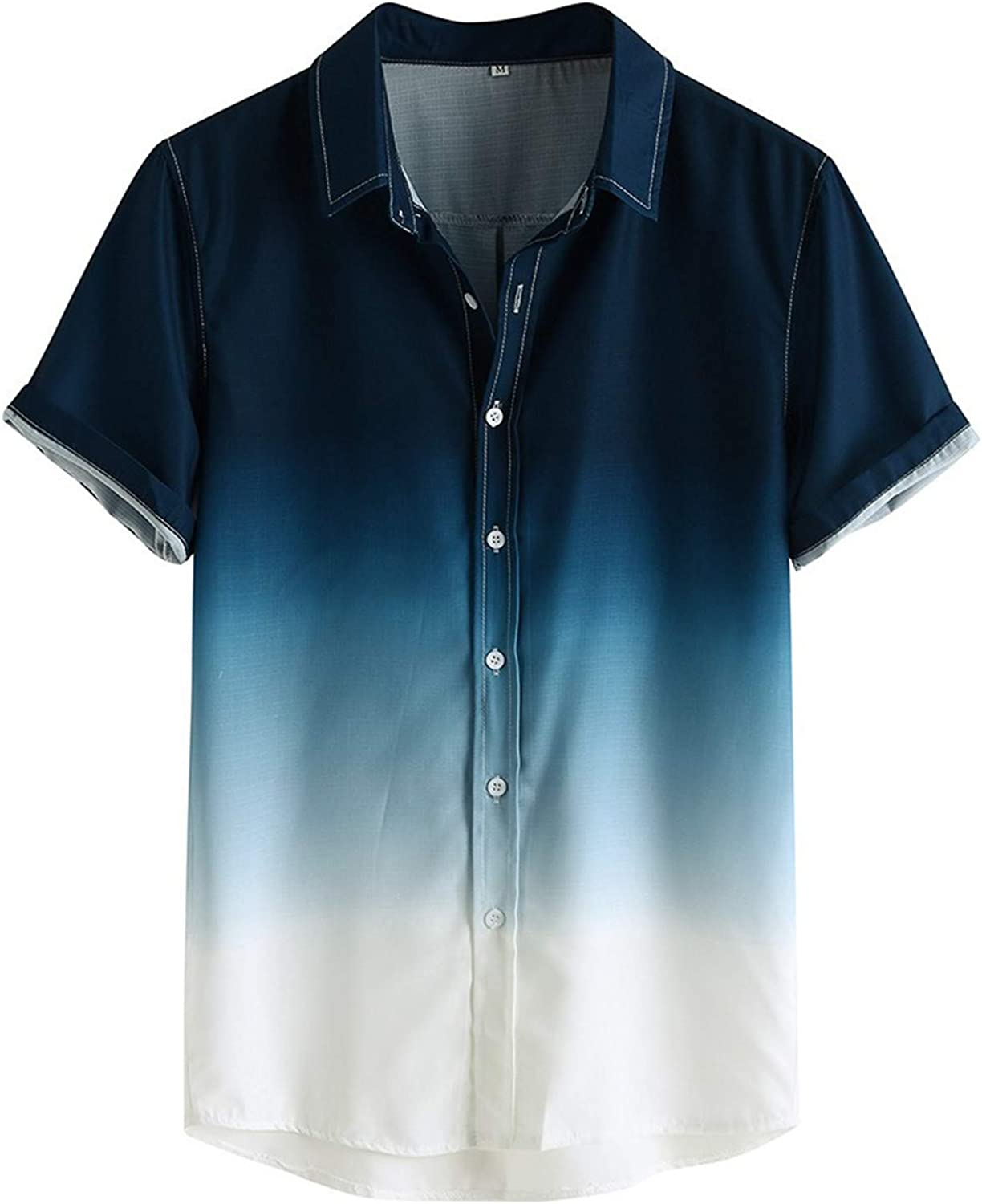 Shirt for Men, F_Gotal Men's T-Shirts Cotton and Linen Summer Short Sleeve Gradient Color Loose Casual Sport Blouse Tops
