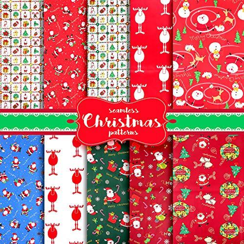 10 Piezas Navidad Tela Algodon Telas Patchwork, Tela de Algodón de Navidad, Patchwork de Costura de Tela, Tela de Algodón con Tema Navideño, Tela Estampada Costura Navideña Manualidades de Bricolaje(A