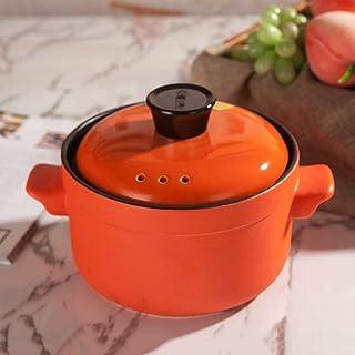 XIAO WEI Heat-Resistant Ceramic Casserole Round Soup Pot with lid Casserole Dish Ceramic cookware Clay Pot earthen Pot hot...