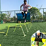Cakunmik Set 5Pcs Vallas Ajustables - Altura con Bolsa De Red - Accesorios De Entrenamiento Ideal - Ideal para El Fútbol, El Deporte Y Velocidad