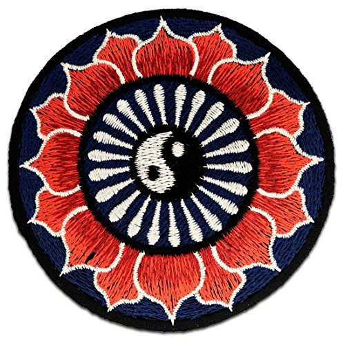 Yin Yang Yoga Loto Rojo Om Yoga Meditación Espiritual símbolo hindú Hartha Paz Interior Yoga Inspiration Patch '8 x 8 cm' - Parche Parches Termoadhesivos Parche Bordado Parches Bordados Parches Para La Ropa Parches La Ropa Termoadhesivo Apliques Iron on Patch Iron-On Apliques
