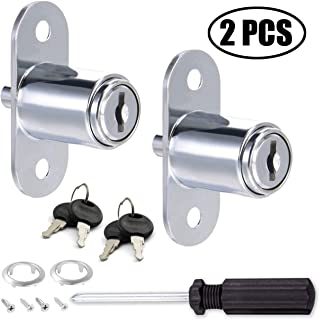 TIHOOD 2PCS Push Plunger Lock with 1pc Slotted Screwdriver, 3/4-inch(19mm) Cylinder Diameter, Zinc Alloy Chrome Finish