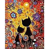 Z Paint by Numbers Animales con pinceles y pigmento acrílico DIY lienzo pintado a mano para adultos principiantes, decoración del hogar, dormitorio – dos gatos 16 x 20 pulgadas (sin marco)