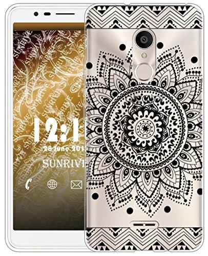 Sunrive Für Alcatel 3C Hülle Silikon, Transparent Handyhülle Schutzhülle Etui Case für Alcatel 3C(TPU Blume Schwarze)+Gratis Universal Eingabestift