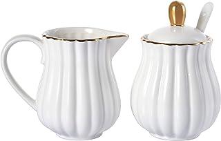Yesland Royal Ceramic Sugar and Creamer Set of 3, 6.7 oz Pumpkin Style White Sugar Bowl Cream Pitcher with Gold Rim, Lid &...
