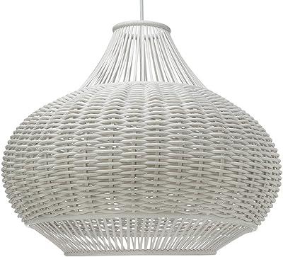 """KOUBOO 1050033 Wicker Pear-Shaped Pendant Lamp, 18"""" x 18"""" x 15"""", White"""