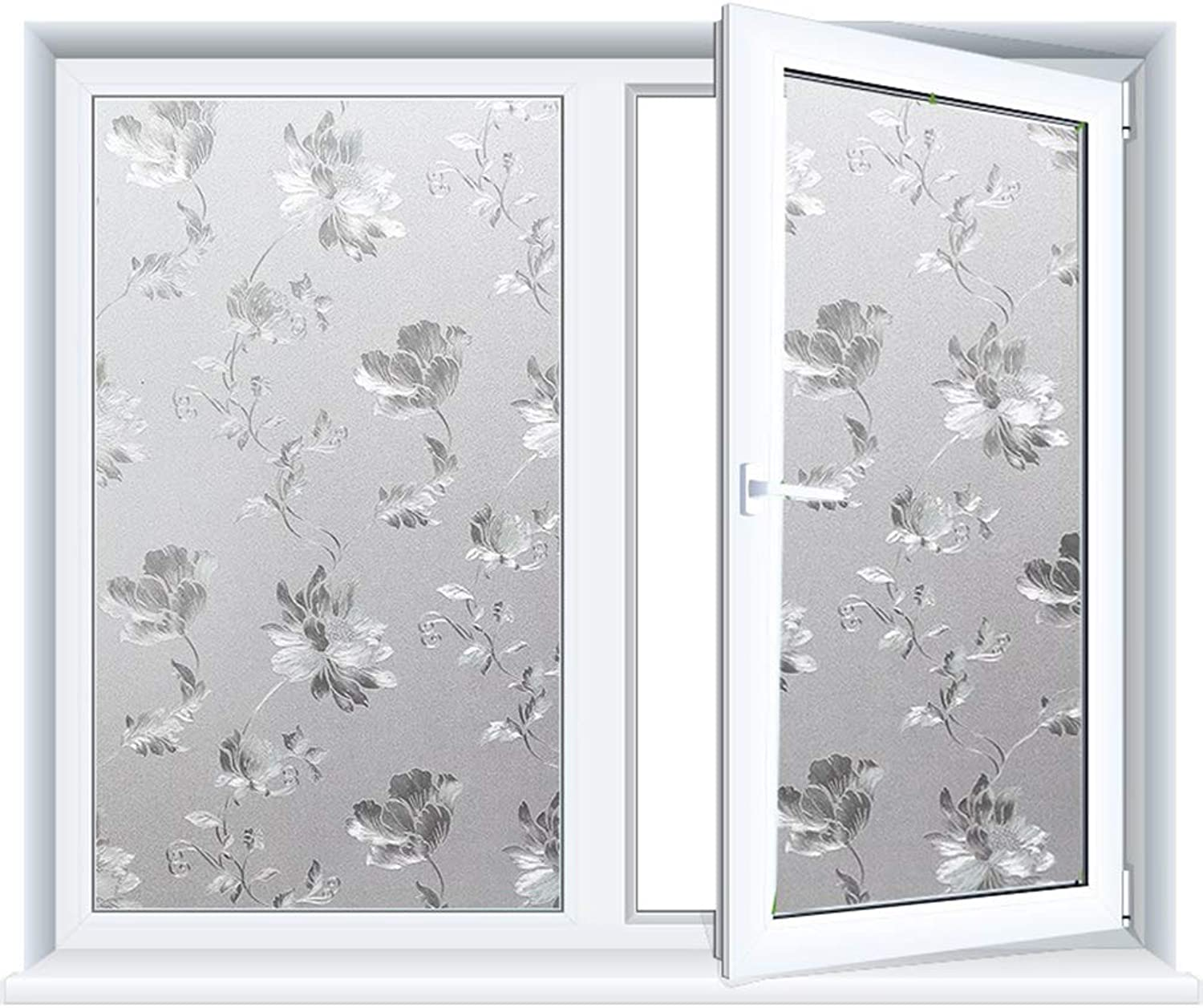 Frosted Window Film Privacy Window Stickers, Glass Film Decorative Window Anti-UV Films Self-Adhesive Vinyl Window Clings for Home Bathroom Office,45x200cm(17x78in)