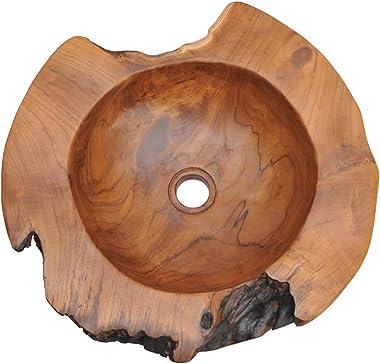 vidaXL Solid Teak Wood Basin Wash Sink Bathroom Home Indoor Washbowl Bowl