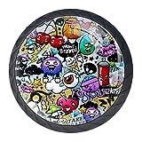 Schubladenknöpfe, Cartoon-Graffiti-Muster, 4 Stück, rund, Schubladengriffe, Schrank, Kommode, Bücherregal, Zuggriffe für Küchenschrank
