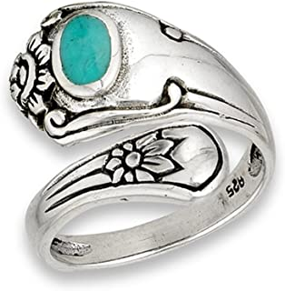 Open Simulated Turquoise Unique Vintage Spoon Ring Sterling Silver Thumb Band Sizes 6-9