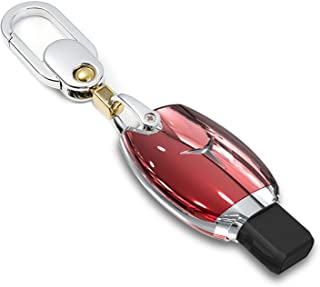 FancyAuto Car Key Case Cover for Benz Remote ABS Skin with Metal Leather Key Chain for Mercedes Benz plug-in Key(Red)
