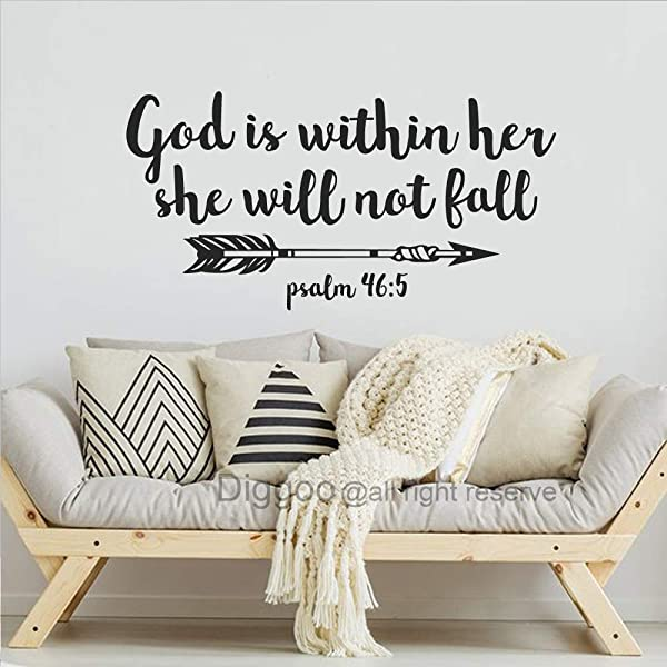 Psalm 46 5 Wall Decal God Is Within Her She Will Not Fall Decal Scripture Wall Art Christian Quote Arrow Nursery Girl S Room Wall Decor Black 15 5 H X 30 W
