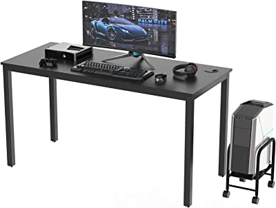 DESIGNA Computer Desk 55 inches Study Writing PC Laptop Table Workstation with Cable Manager, Office Home Desk Multi-Functional, Modern Industrial Style, Black Wood & Metal Frame