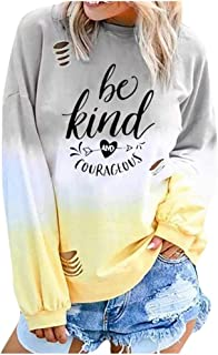 Women's Pullover Top Gradient Colorblock Letter Tie Dye Print Sweatshirt Long Sleeve Round Neck Shirt Blouses