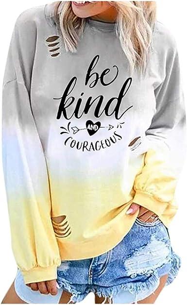 Sudaderas Adolescentes Chicas, Fossen Sudaderas Mujer Tumblr sin Capucha - Emoticon Estampado Camiseta Blusa Tops de Manga Larga