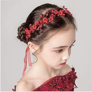 IYOU Fermaglio Fiori per Copricapo a Forma di Principessa Rosso con Perle e Cristalli, Accessorio per Capelli da Sposa e R...