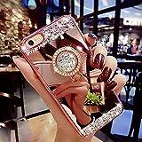 Kompatibel mit iPhone 6S Hülle,iPhone 6 Hülle,[Ring Ständer] Glänzend Glitzer Strass Diamant Überzug Spiegel TPU Silikon Handy Hülle Tasche Silikon Handyhülle Schutzhülle für iPhone 6S/6,Rose Gold