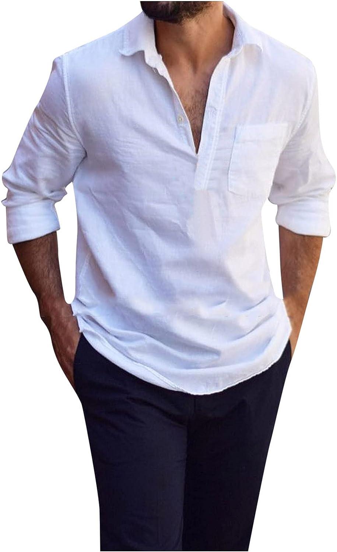 FORUU Mens Cotton and Linen Shirts 2021 Fall Solid Long Sleeve Shirts Fashion V Neck Tops Loose Men Casual Blouse