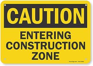 "SmartSign - S2-0097-PL-10""Caution - Entering Construction Zone"" Sign | 7"" x 10"" Plastic"