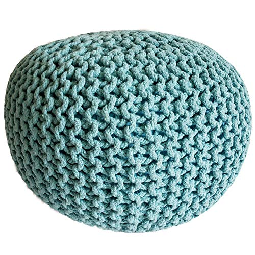 casamia Taburete de punto Pouf de 45 cm de diámetro, asiento puff de punto grueso, cojín de suelo, altura de 30 cm, color menta