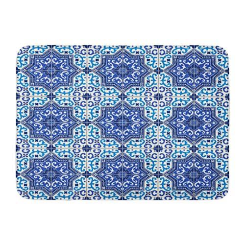 Fußmatten Bad Teppiche Outdoor/Indoor Fußmatte Spanisch Wunderschöne Weiß Blau Marokkanischen Portugiesischen Fliesen Azulejo Ornamente Muster Füllungen Mosaik Badezimmer Dekor Teppich Badematte