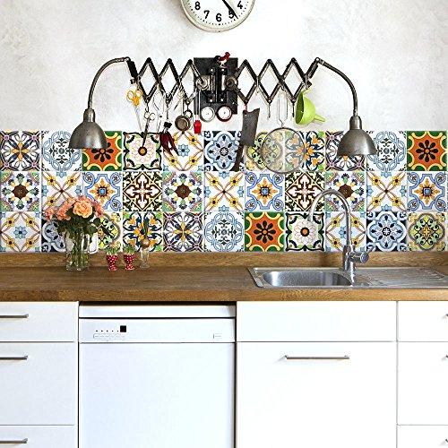 54 (Piezas) Adhesivo para Azulejos 10x10 cm - PS00121 - Murcia - Adhesivo Decorativo para Azulejos para baño y Cocina - Stickers Azulejos - Collage de Azulejos