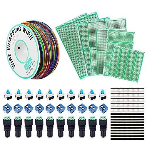 IZKOEE Kit de Placa PCB - 30AWG PCB Cable + Doble Cara Junta de PCB Prototipo + Conector de alimentación de DC + Botón Interruptor + Bloque de Terminal de Tornillo