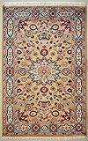 ETNICO Alfombra de seda y lana oriental de un solo nudo Ardabil, hecha a mano, 124 cm x 182 cm, beige