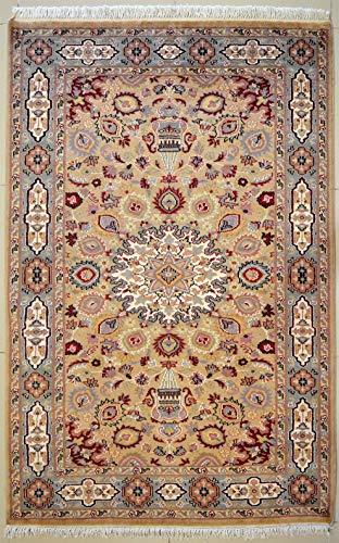 etnico Ardabil Teppich aus orientalischer Seide und Wolle, handgefertigt, 124 x 182 cm, Beige