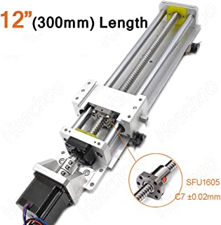 Electric Linear Stage Actuator Travel Length 300mm Ballscrew 1605 Double Optical Axis Linear Rail Guide Slide Stage C7 with Nema23 Motor for DIY CNC Router Controller