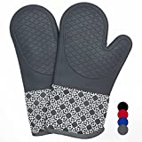 Heat Resistant Silicone Shell Kitchen Oven Mitts for 500 Degrees with waterproof, Set of 2 Oven...
